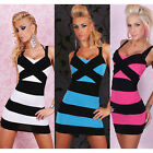 Striped Sexy Strappy Bodycon Slim Clubwear Party Short Mini Tunic Pencil Dress