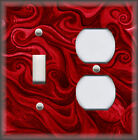 Metal Abstract Art Light Switch Plate Cover - Red Ombre Home Decor Swirl Design
