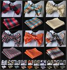 ECB Check Men Silk Woven Party Pocket Square Self Bow Tie Handkerchief Set