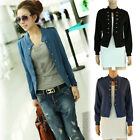 New Fashion Women Long Sleeve Stand Collar Double Breasted Small Jacket Coat DU1