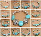 New Fashion Jewelry Tibetan Silver Bangle Turquoise Beads Dangle Charms Bracelet
