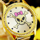 1PC NEW STYLISH LEATHER QUARTZ SKULL WOMEN WRIST FASHION GIFT WATCHES G48
