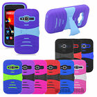 For ZTE Ripple Hybrid Stand Shockproof Dual Layer Case Hard Silicone Cover