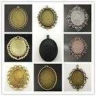 1PC Multi-color Lace Oval Alloy Cameo Setting (Inner Size40*30) Charming Pendant