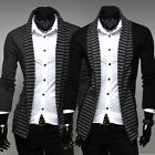 Men's Casual Fashion Striped Long Sleeve Coat Fashion Cardigan Knitted Sweater