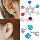 1X Stainless Steel Cubic Zirconia Ball Tragus Cartilage Lobe Bar Stud Earring