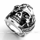 Punk Gothic Pirate Skull CZ Gemstone 316L Stainless Steel Men's Biker Ring Cool