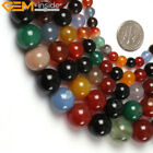 "Round Multi-color Agate Beads Jewelry Making Gemstone Strand 15"" Size Pick"