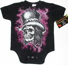NWT BLACK BODYSUIT OR TODDLER TEE PUNKY SKULL WITH HAT