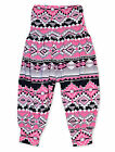 Girls Pink Aztec Harem Trousers Kids Dance Costume Pant New Age 7 - 13 Years