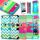 For iPod Touch 5 5th Gen Hard Soft Rubber High Impact Armor Case Hybrid Cover