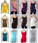 Cotton Quality Plain Jersey Top and Bottom Lace Long Cami Tunic Tank Top S/M/L