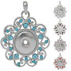 1PC New Charm Pendant Fit Snap Buttons Hollow  Pentacle Rhinestone M2925