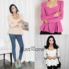 Fashion Women Frill Tunic Fitted Puff Sleeve Tops Cotton Blend Peplum Blouses