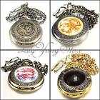 Antique Bronze Steampunk Dragon Pocket Watch Quartz Chain Necklace Pendant