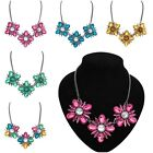 New Fashion Colrful Luxury Flower CZ Crystal Pendant Chunky Chain Charm Necklace