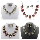 New Women's Fashion Bronze P Chain Wedding CZ Crystal Inlay Necklace Errings Set