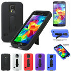 Heavy Duty Dual Layer Protective Armure Kickstand Case+LCD For Samsung Galaxy S5