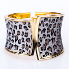 Hot Leapord Print Shinny Bangle Bracelet 18k yellow gold GP 8 colors for choose