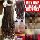 "Hair Extensions One Piece Clip in Half Head 18-28"" Blonde Black Plum Red Grey"