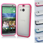 New Bumper Matte Clear Back Case TPU Cover For HTC One M8 Free+Protector +Stylus