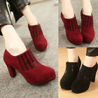 Womens Zip Chunky High Heels Platform Pumps Round Toe Suede Ankle Booties Shoes