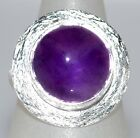 Purple Amethyst Sterling Silver Ring 925 Solitaire Gemstone,Sizes 50.5,L to 12,Y