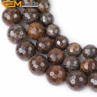 "Natural Stone Round Bronzite Beads For Jewelry Making 15"" Faceted 10mm 12mm 14mm"