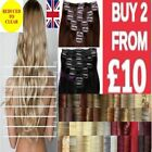 Long hair clip - in hair extensions straight curly/wavy fiber hair red blonde
