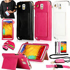 Neck Strap+Leather Wallet Card Holder Stand Case Cover For Samsung Galaxy Note 3