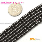 "Magnetic Column Faced Black  Hematite Stone Beads DIY Strand 15""Size Selectable"