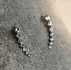 18K GP White Gold Plated Swarovski Element Crystal Earrings Ear Hook 1 Pair