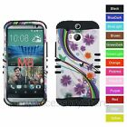 For HTC One M8 Rainbow Flower Butterfly Hybrid Rugged Impact Armor Case Cover