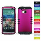 For HTC One M8 Rosy Pink Hard + Silicone Hybrid Rugged Impact Armor Case Cover