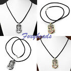 "1X 25"" Mens Unisex Retro Anchor Tag Pendant Black Braid Rope Necklace Gift"