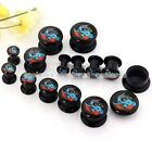 Pair 4MM-14MM Punk Angle Dove Acrylic Screw Ear Tunnel Plugs Stretcher Earlets