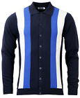 NEW MOD SIXTIES RETRO STRIPED BEST KNITTED POLO SHIRT CARDIGAN NAVY 60s MC180