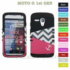 For Motorola MOTO G Pink Anchor Chevron Wave Hybrid Hard &Soft Impact Case Cover