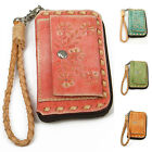 """Handmade"" Brushed Leather Flower Floral Zipper Key Case Holder Strap eea1"