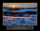 Aspire Snow Mountain Motivational Art Poster Print 28x22 Photography Framed