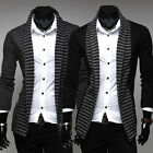 NEW Mens Casual Fashion stripes Slim Fit Suit Blazer Coats Jackets UKLO