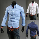 HOT NEW Mens Designed Casual Dress Shirts Tops Slim Lines Stylish UKLO