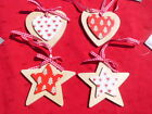 Gisela Graham Christmas white or red  heart star  Wooden hanging tree decoration