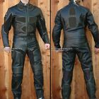 2pc Thunder Motorcycle Race Racing Street Riding Leather Track Suit Black Armor