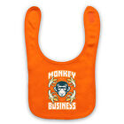 MONKEY BUSINESS FUNNY RETRO SLOGAN COOL CUTE COMEDY BABY BIB BABY SHOWER GIFT