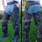 HEAVY DUTY Lined Naked Cowhide Leather Motorcycle Riding Chaps Black All Sizes