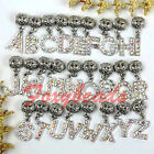 5x Letter Alphabet A-Z Rhinestone AB Pendant Dangle Bead Fit Charm Bracelet DIY