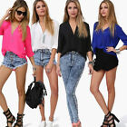 2014 Women's Chiffon Long Sleeve Shirt Sexy V Neck Loose Tops Blouse T-Shirt