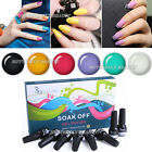 Nail Art Soak Off Polish 6 Colors+Base Top Coat Set UV Glitter Gel Primer Tips