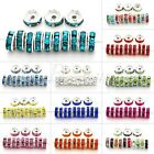 50/100pcs Silver Plated 5/6/8/10/12mm Crystal Rhinestone Rondelle Spacer Beads